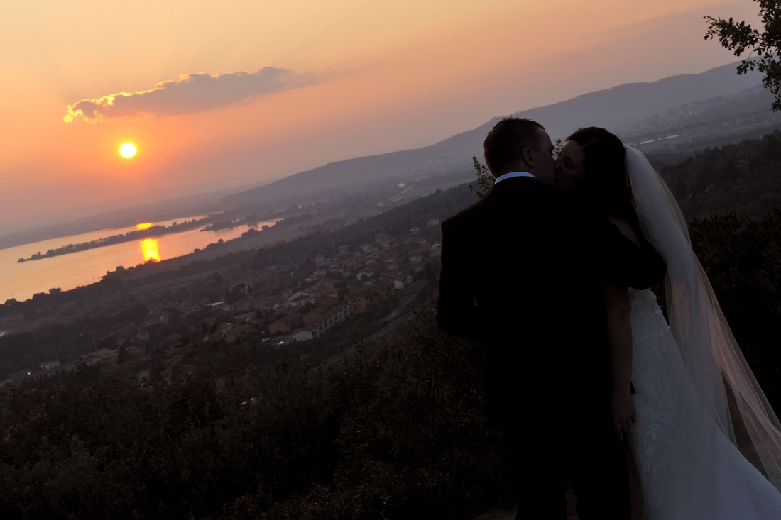 Garden villa wedding Italy. Amazing sunset view from the villa gardens