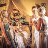 Bride and mother chat in the Weddings Italy suite of Villa San Crispolto