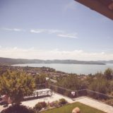 View of Lake Trasimeno and terrace from Exclusive weddings villa Italy 1.