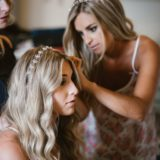 Bridesmaids preparation in the wedding suite at Villa San Crispolto