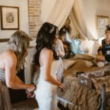 Bride is getting ready in the wedding suite, Villa San Crispolto