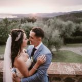 Bride and groom romantic moment at Villa San Crispolto