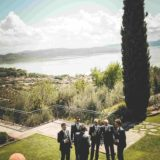Garden villa wedding Italy. Lads relaxing drink before the ceremony...