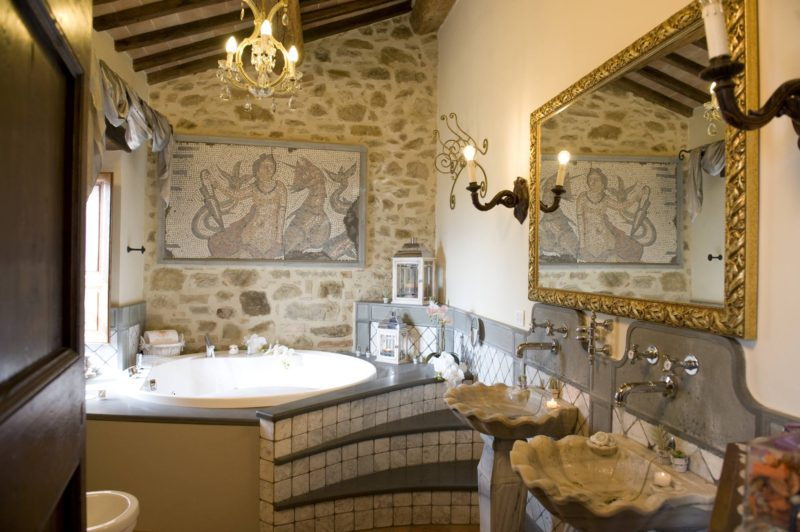 italy wedding venues. The Wedding Suite bathroom, detail of the Roman mosaic and the Carrara marble sink