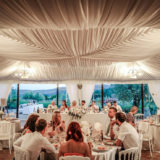 The marquee for the receptions held at Villa Baroncino