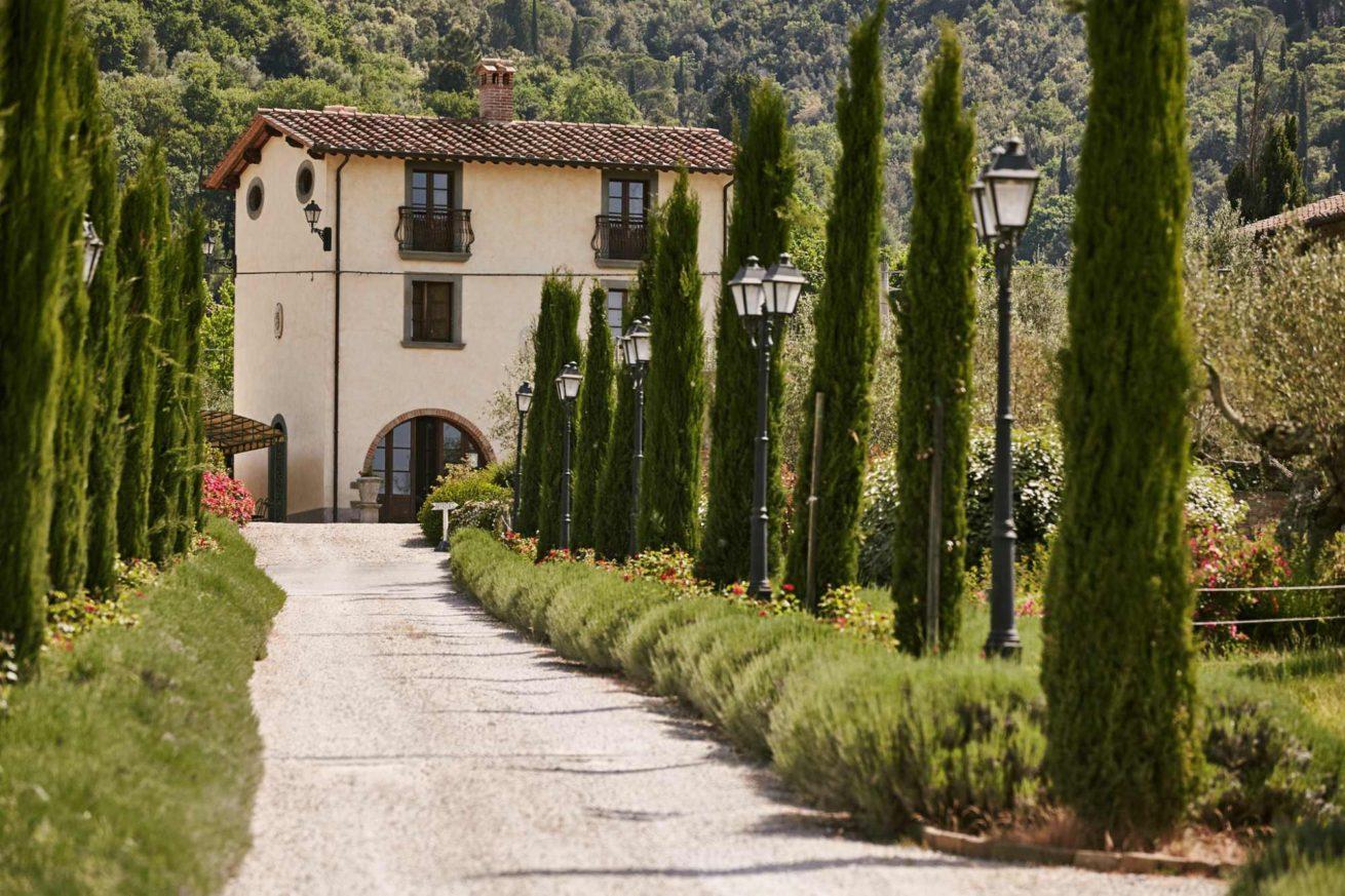 Entrance way with cypresses and lavander to Villa Baroncino