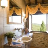 One of the four bathrooms, detail of the Carrara marble sink.villa wedding Italy