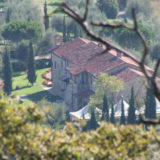 View from the above of the whole Exclusive weddings villa Italy San Crispolto building and marquee.