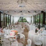 Wedding table decorations in the marquee of villa San Crispolto