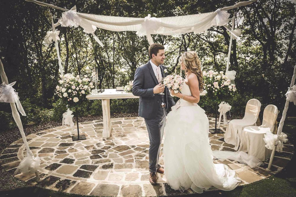 "Celebrate your ""Garden Ceremonies Italy"" can be legally binding ceremony/protestant or symbolic blessing in ""The Garden Temple"", of Villa San Crispolto: a luxury & exclusive outdoor area for your wedding with breathtaking views over Lake Trasimeno."