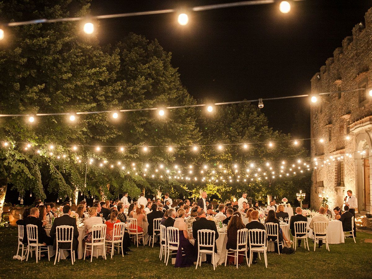 Italy Wedding Outdoor Reception Decorations Lighting